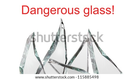 Sharp pieces of broken glass - stock photo