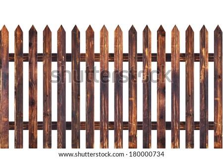sharp planks on old isolated wood fence model - stock photo