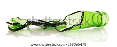 Sharp shards of beer bottles isolated on white background - stock photo