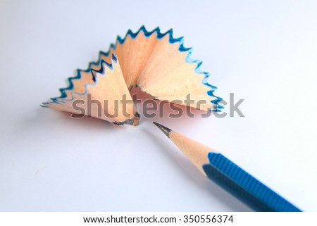 Sharpened pencil chips - stock photo