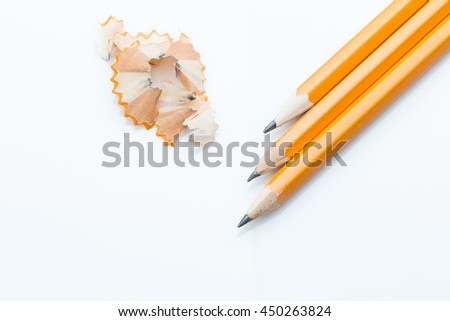 Sharpened pencils on white background