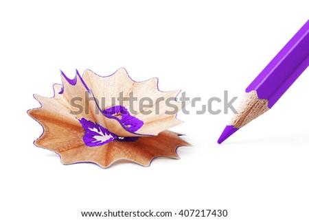 Sharpened violet pencil and wood shavings on white background, education concept - stock photo