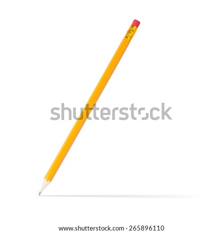 sharpened wooden pencil with shadow, on white background  - stock photo