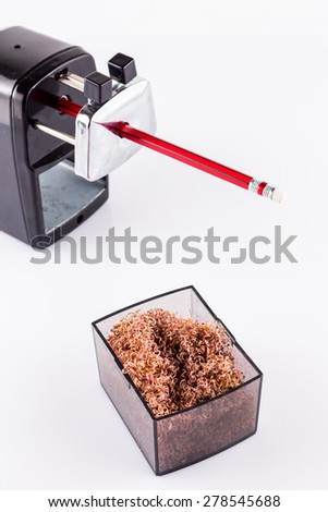 Sharpener and a pencil isolated on white background. - stock photo