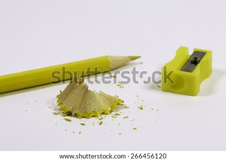 Sharpener and Color Pencils For School And Art Work. - stock photo