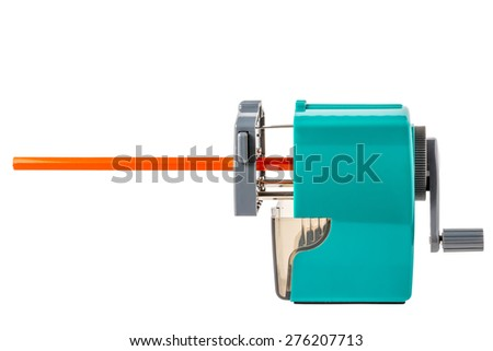 sharpener and orange pencil on a white background