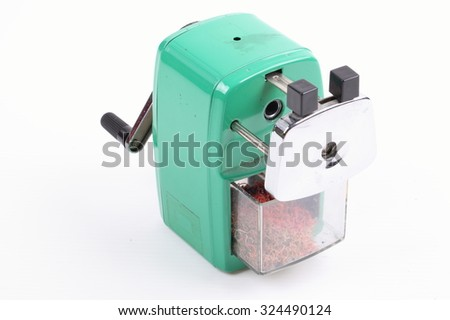 sharpener of pencil isolated on white background - stock photo