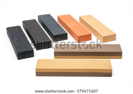 Sharpening stones set of 7 on white background