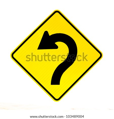 Sharply curving arrow on road sign pointing left in a concept of turning around, correction and betterment isolated on white - stock photo