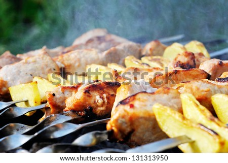 Shashlik - cooking barbecue on grill close-up