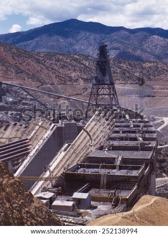 Shasta dam under construction, California. Built on the Sacramento River from 1938-1945. June 1942 photo by Russell Lee. - stock photo