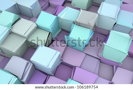 shattered blue and purple 3d cubes - stock photo