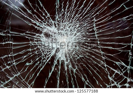 shattered glass - stock photo