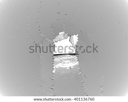 Shattered glass and large hole in the center: bullet hole. On white - stock photo