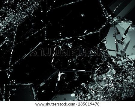 Shattered glass pieces on black background. Large resolution - stock photo