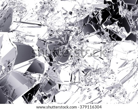 Shattered glass: sharp Pieces on white.  - stock photo