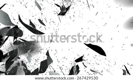 Shattered glass with motion blur on white. Large resolution - stock photo