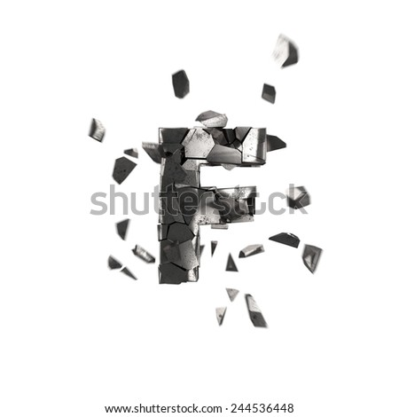 shattered iron letter F - stock photo