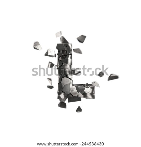 shattered iron letter L - stock photo