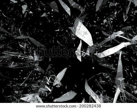 Shattered or damaged pieces of glass isolated on black - stock photo