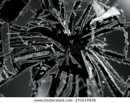 Shattered or demolished glass Pieces isolated over black