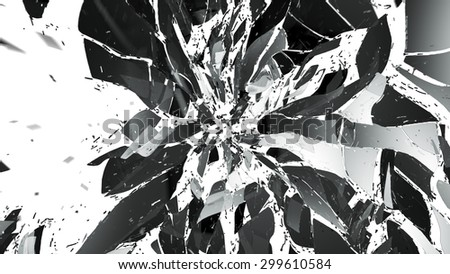 Shattered pieces of glass on white with motion blur. Large resolution