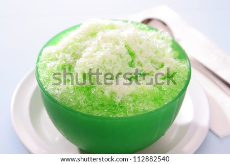 Shave Ice with Cream Soda Flavor and condensed milk.