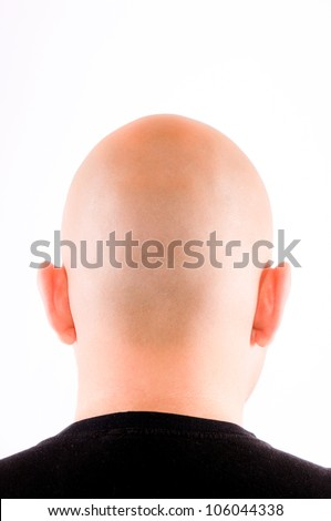 Shaved head isolated on white - stock photo