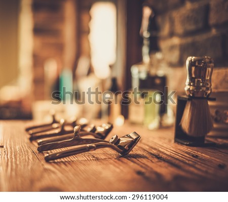Shaving accessories in a barber shop - stock photo