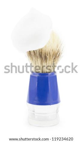 shaving brush shaving isolated on white background - stock photo
