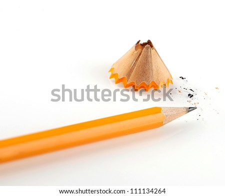 shaving pencil on white background - stock photo