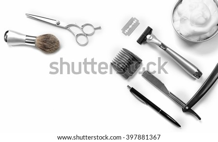 Shaving set with equipment, tools and foam, isolated on white