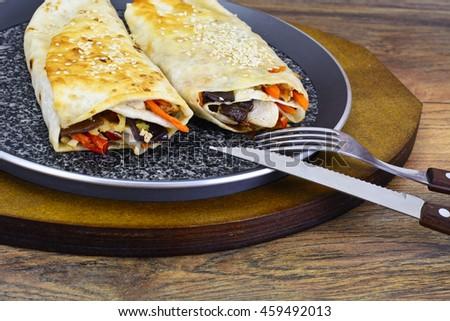 Shawarma Lavash with Chicken and Vegetables Studio Photo