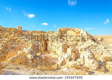 Shawbak castle in Shawbak, Jordan. It is known as a Crusader castle. - stock photo