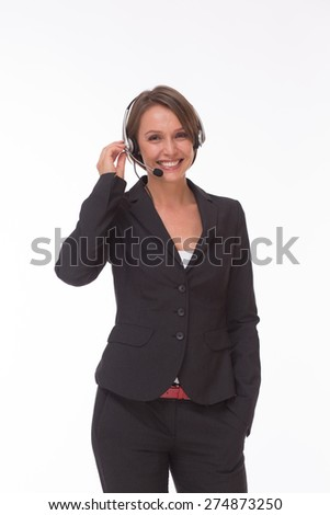 She can sell goods via phone successfully. Business woman with headset isolated on white - stock photo