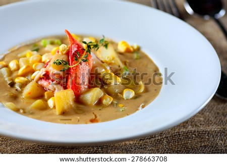 she crab soup with potato and corn  - stock photo