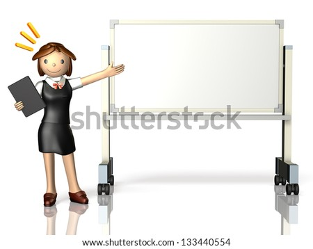 She has a presentation,using a whiteboard.