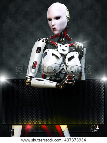 she is a cyborg 3d illustration, very good for any background design like flyer, poster, etc... - stock photo