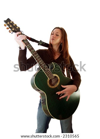 She is entertaining her friends on the guitar