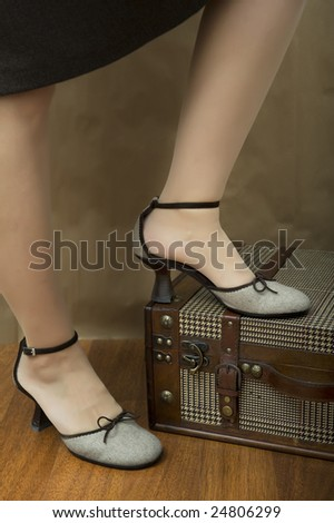she is going to traveling with her bags - stock photo