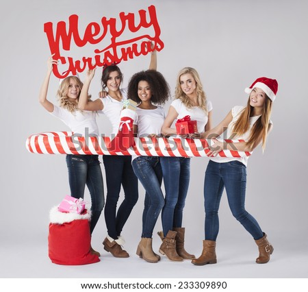 She wanna spend Christmas with her the best friends - stock photo