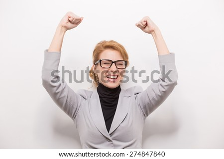 She won a deal. Busnesswoman winner - stock photo