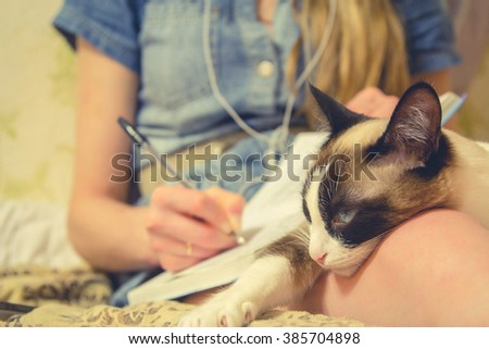 she writes poems in a notebook, cat lies on her lap at home, inspiration - stock photo