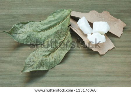 shea butter on wooden - stock photo