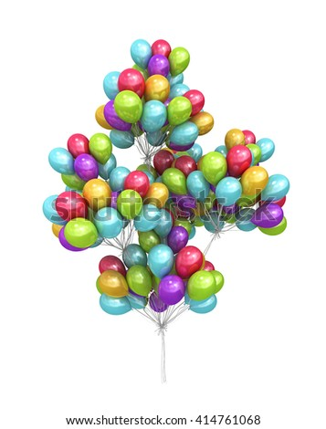 sheaf from a large number of balloons 3d illustration - stock photo
