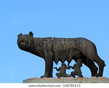 Shee-wolf breest feed Romulus and Remus. Rome. Italy.