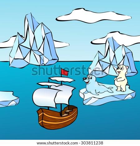 Sheep, icebergs and polar bear. Illustration for children - stock photo