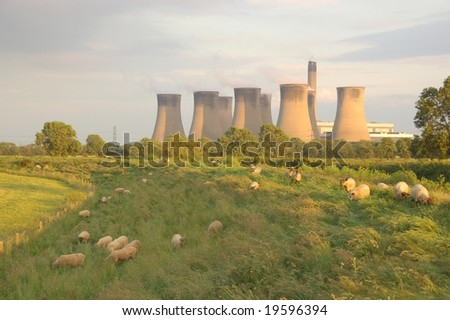 Sheep in front of cooling towers of a power plant - stock photo