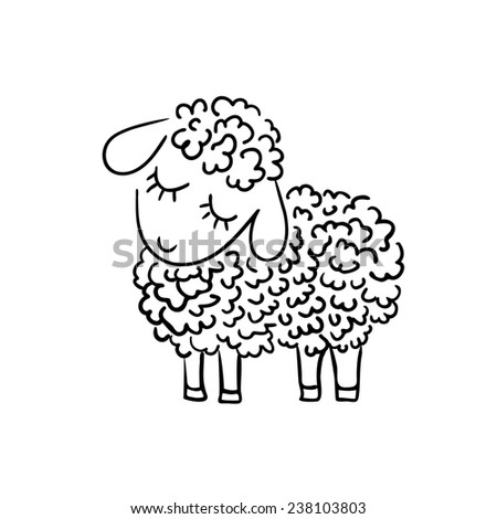 sheep sketch on white background