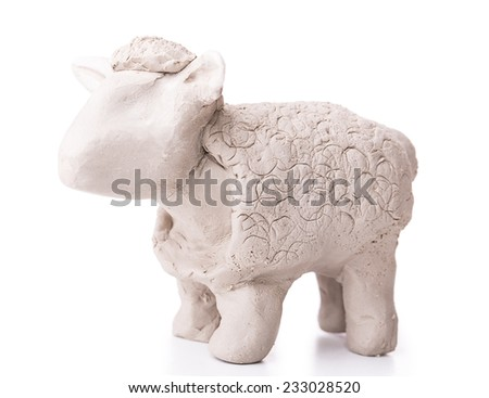 sheep toy clay Isolated on white background